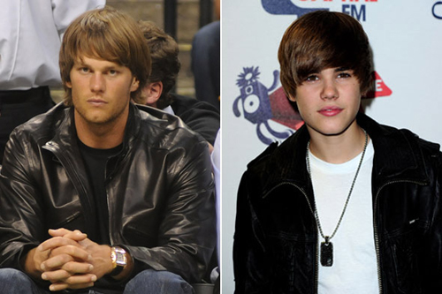 Tom Brady raised some eyebrows earlier this year at the NBA playoffs with his Justin Bieber-like haircut. Bieber is pictured on the right.